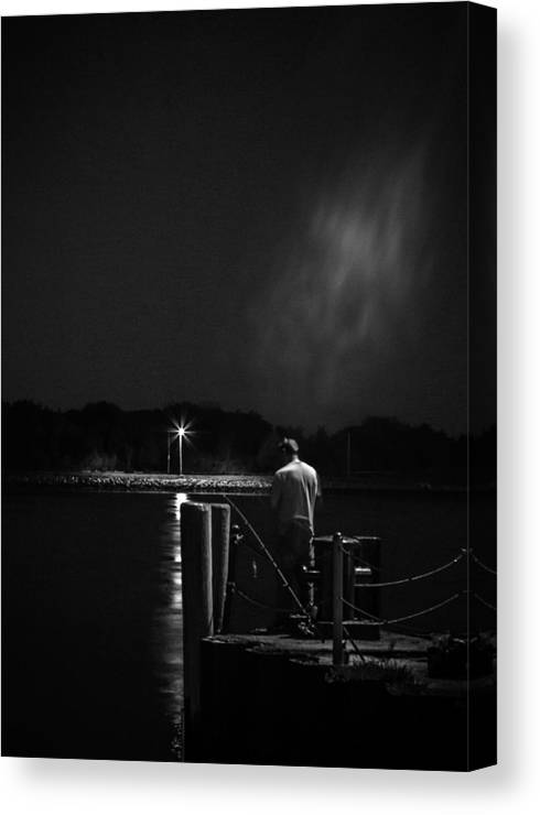 Cape Cod Canal Canvas Print featuring the photograph Fishing On The Canal by Kate Hannon