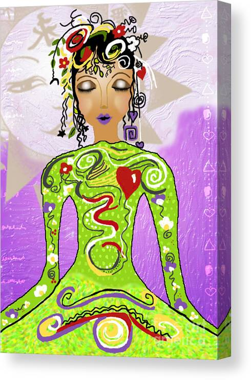 Yoga Canvas Print featuring the digital art Goddess Of Yoga by Gia Simone
