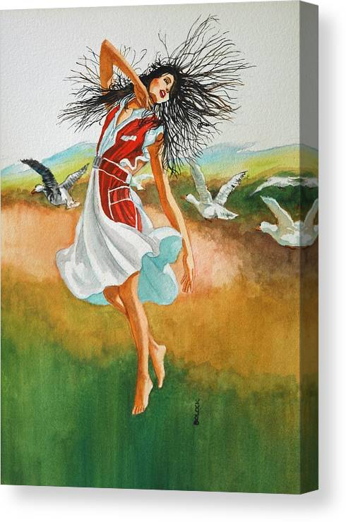 Girl In Free Flowing Form Canvas Print featuring the painting Hair by Frank Bolock
