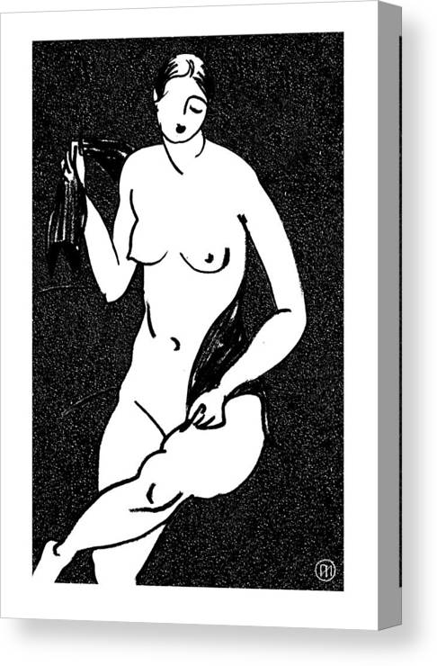 Nude Canvas Print featuring the drawing Nude Sketch 12 by Leonid Petrushin