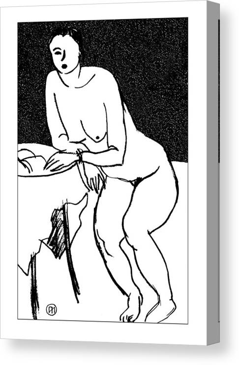 Nude Canvas Print featuring the drawing Nude Sketch 40 by Leonid Petrushin
