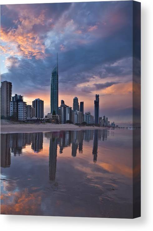 Surfers Paradise Canvas Print featuring the photograph Surfers Paradise @ Sunset by Renee Doyle