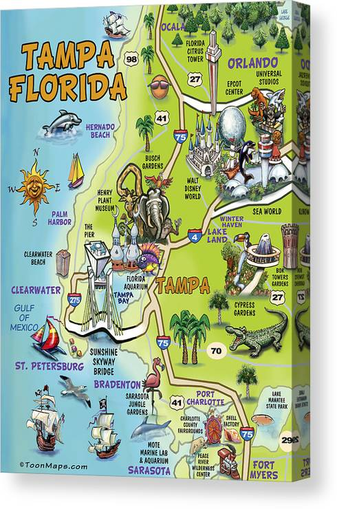 Tampa Canvas Print featuring the painting Tampa Florida Cartoon Map by Kevin Middleton