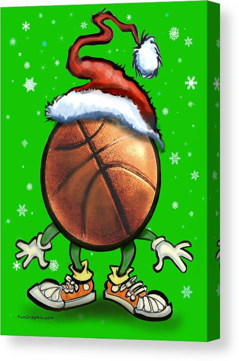 Basketball Canvas Print featuring the digital art Basketball Christmas by Kevin Middleton