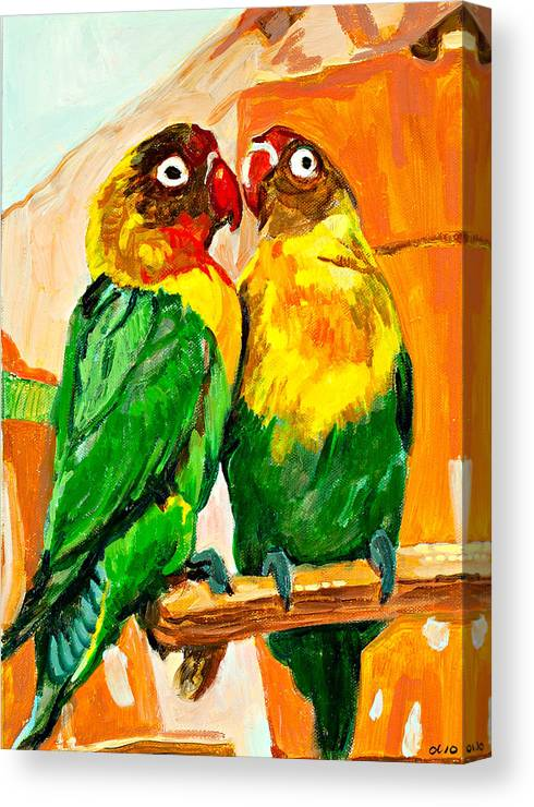 Parrots Canvas Print featuring the painting Best Friends by Debbie Beukema
