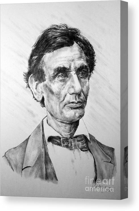 Lincoln Canvas Print featuring the drawing Lincoln by Roy Anthony Kaelin