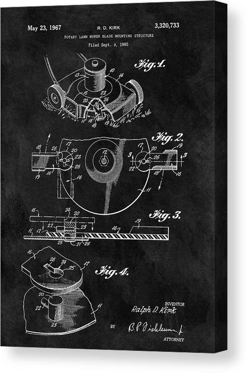 1967 Lawn Mower Patent Canvas Print featuring the drawing 1967 Lawn Mower Patent Illustration by Dan Sproul