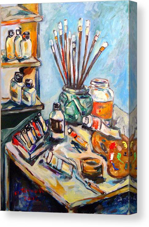 My Studio Canvas Print featuring the painting Painting by Ibrahim El tanbouli