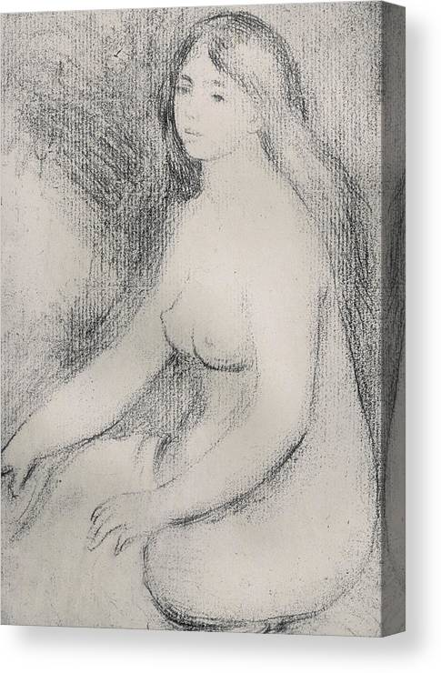Renoir Canvas Print featuring the drawing Seated Bather 5 by Pierre Auguste Renoir