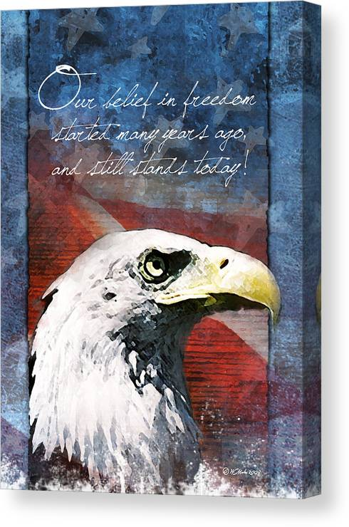 Troop Support Greeting Card Canvas Print featuring the painting A Belief In Freedom by William Martin