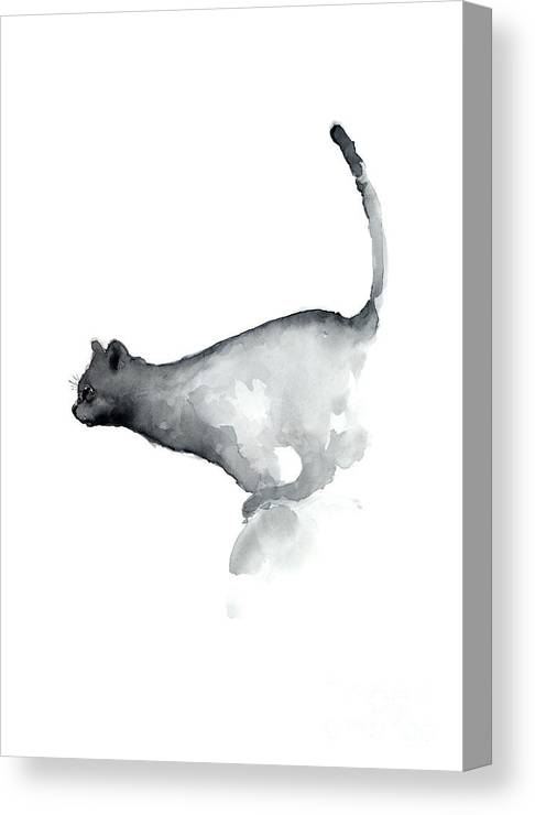 Prints Canvas Print featuring the painting Abstract Cat Watercolor Painting, Grumpy Cat Lover Gift by Joanna Szmerdt