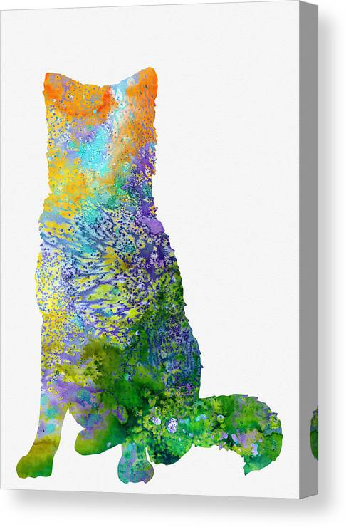 Akita Inu Canvas Print featuring the digital art Akita Inu by Erzebet S