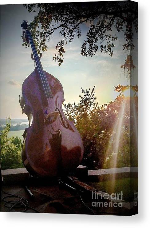Bass Canvas Print featuring the mixed media Bass Rhythm And Sound Of A Community by Mary Shannon Hurst