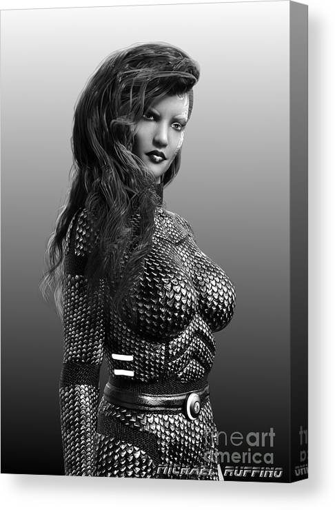 Female Canvas Print featuring the digital art Blue Beauty In Bw by Michael Ruffino