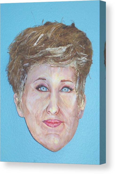 Caricature Canvas Print featuring the mixed media Blonde Comedian W Mullet - Do by Ellen Burns