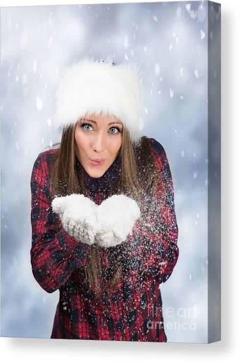 Young Canvas Print featuring the photograph Blowing Snow In Winter by Amanda Elwell