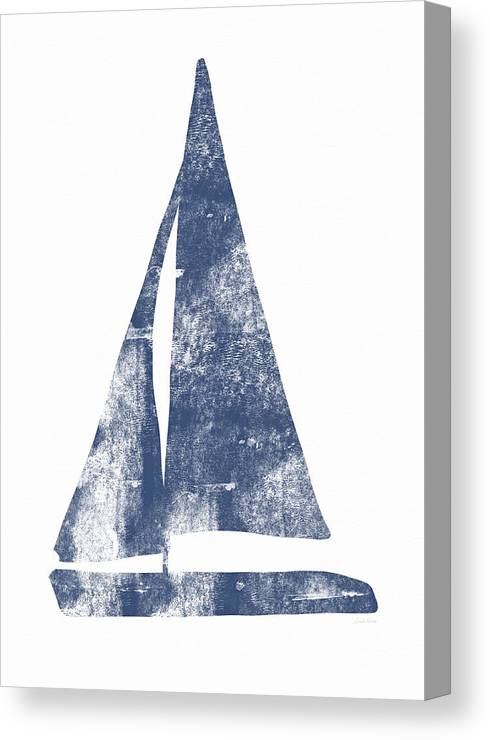 Boat Canvas Print featuring the painting Blue Sail Boat- Art By Linda Woods by Linda Woods