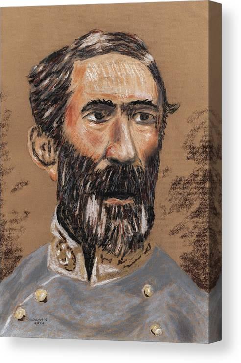 Military Canvas Print featuring the pastel Braxton Bragg by Dennis Larson