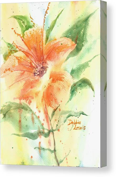 Orange Flower With Yellow Background Canvas Print featuring the painting Bright Orange Flower by Debbie Lewis