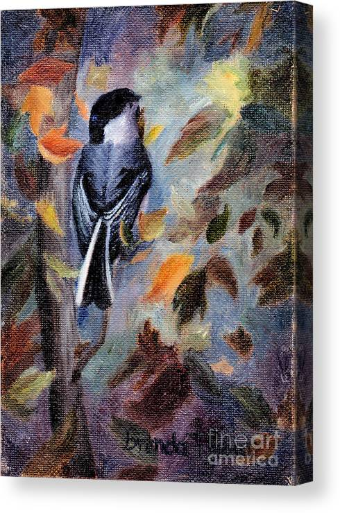 Bird Canvas Print featuring the painting Chickadee In The Fall by Brenda Thour