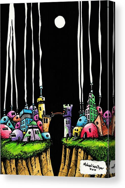 Michaelseanpiper Canvas Print featuring the drawing City Gap by Michael Sean Piper