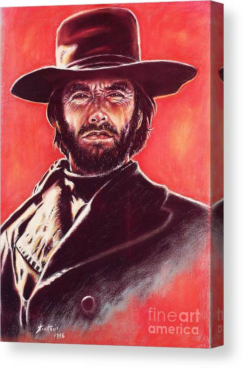 Paper Canvas Print featuring the painting Clint Eastwood by Anastasis Anastasi
