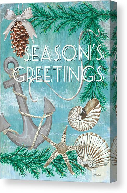 Anchor Canvas Print featuring the painting Coastal Christmas Card by Debbie DeWitt