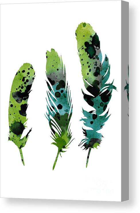 Feather Canvas Print featuring the painting Colorful Feathers Minimalist Painting by Joanna Szmerdt