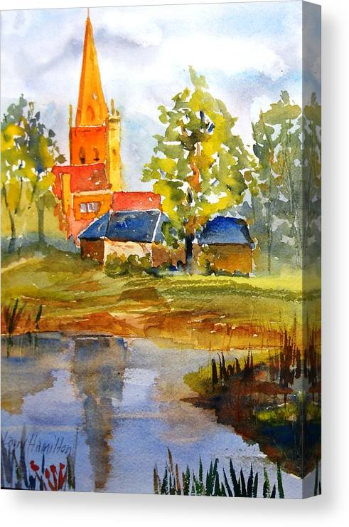 Watercolor Canvas Print featuring the painting Cotswolds England Church by Larry Hamilton