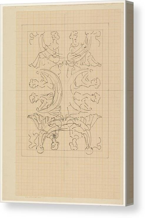 Pattern Canvas Print featuring the painting Decorative Design With Eight Seated Women, Carel Adolph Lion Cachet, 1874 - 1945 by Carel Adolph Lion Cachet