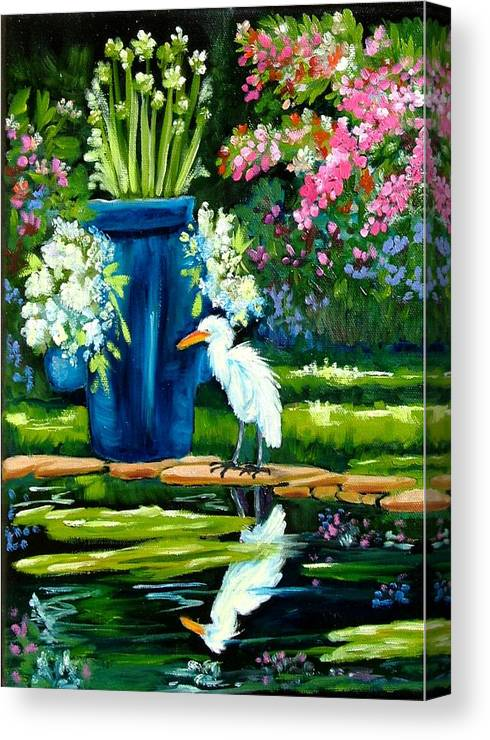 Florida Edison Estate Egret Tropical Pool Water Flowers Vase Lily Pads Animals Vases Blue Prints Birds Wading Birds Egrets Flowers Pink Blue Lavendar Water Pool Canvas Print featuring the painting Egret Visits Goldfish Pond by Carol Allen Anfinsen