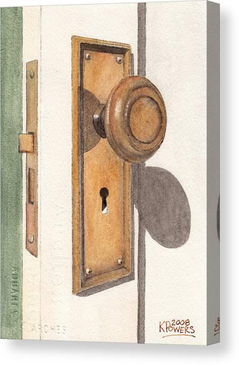 Door Canvas Print featuring the painting Emily's Door Knob by Ken Powers