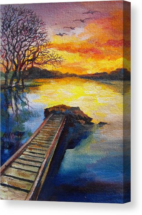 Water Canvas Print featuring the painting End Of The Dock by Min Wang