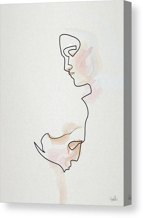 1cea0a9d759 Oneline Canvas Print featuring the drawing Eternelle Idole by Quibe Sarl