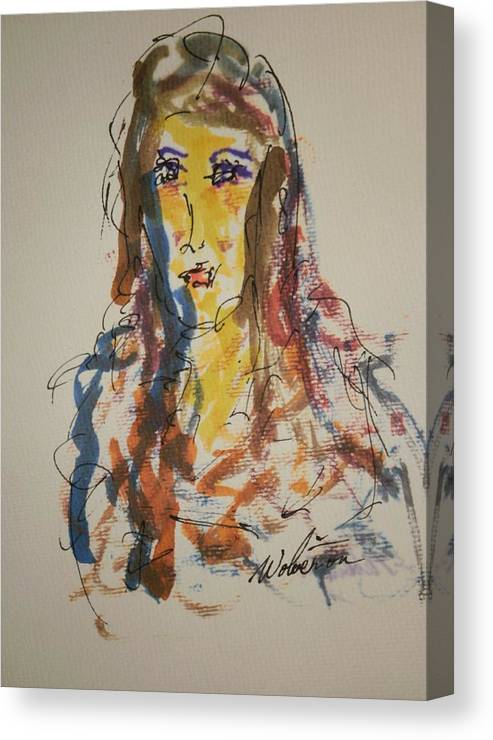 Portrait Canvas Print featuring the painting Female Face Study L by Edward Wolverton