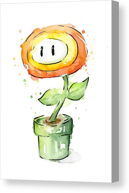 Nintendo Canvas Print featuring the painting Fireflower Watercolor Painting by Olga Shvartsur