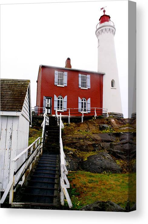 Architecture Canvas Print featuring the photograph Fisgard Lighthouse by Sonja Anderson