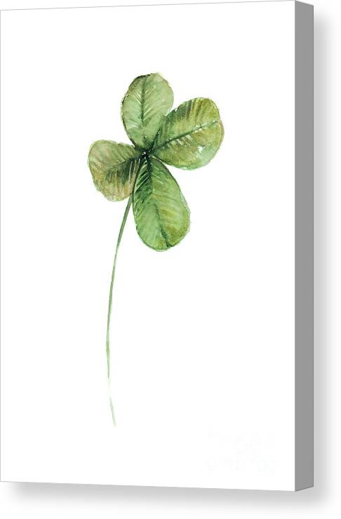 Clover Canvas Print featuring the painting Four Leaf Clover Watercolor Poster by Joanna Szmerdt