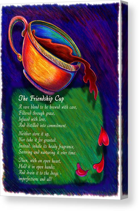 Coffee Canvas Print featuring the drawing Friendship Cup by Anne Nye