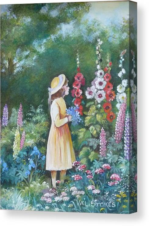 Small Firl Canvas Print featuring the painting Garden Walk - C by Val Stokes