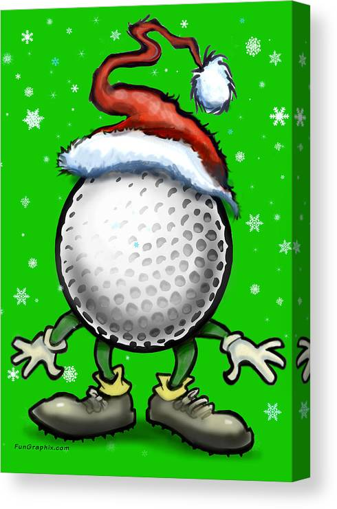 Golf Canvas Print featuring the digital art Golf Christmas by Kevin Middleton