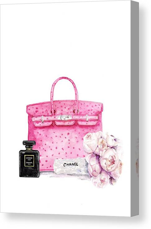 668f900fe3d5 Hermes Bag With Flower Canvas Print   Canvas Art by Green Palace