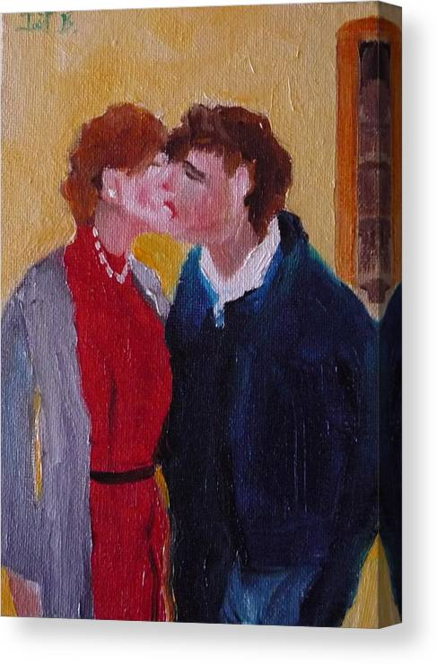 Figurative Canvas Print featuring the painting Kiss Time by Irit Bourla