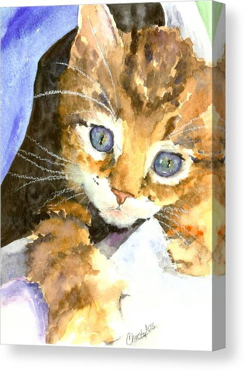 Cat Canvas Print featuring the painting Kitten In Blue by Christy Freeman Stark