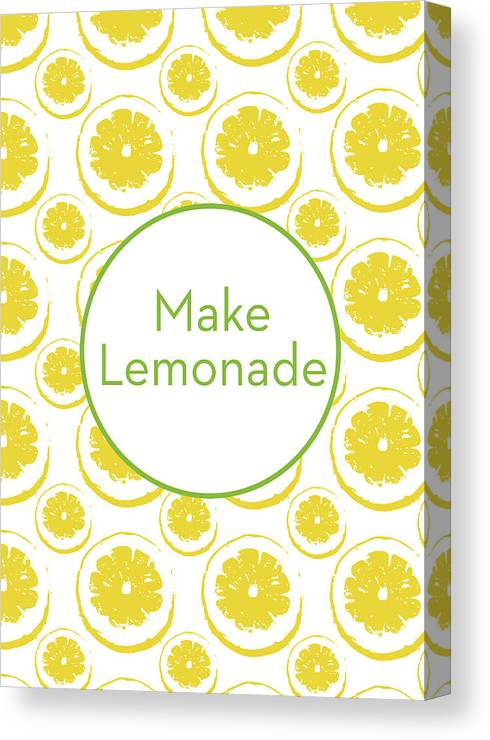 Lemons Canvas Print featuring the mixed media Make Lemonade 3- Art By Linda Woods by Linda Woods
