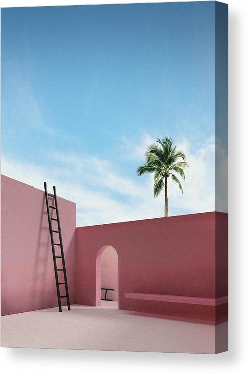 Tropical Canvas Print featuring the digital art Moroccan Patio by Artur Carvalho
