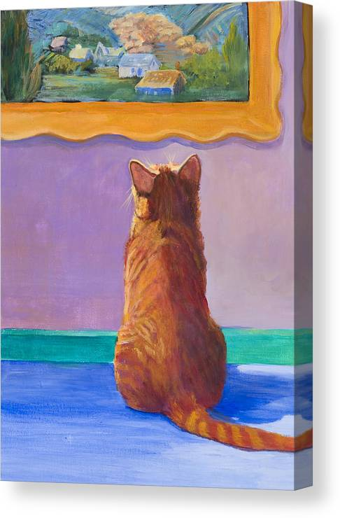 Animal Canvas Print featuring the painting Museum Cat 2 by Jimmie Trotter