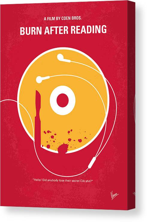Burn Canvas Print featuring the digital art No547 My Burn After Reading Minimal Movie Poster by Chungkong Art