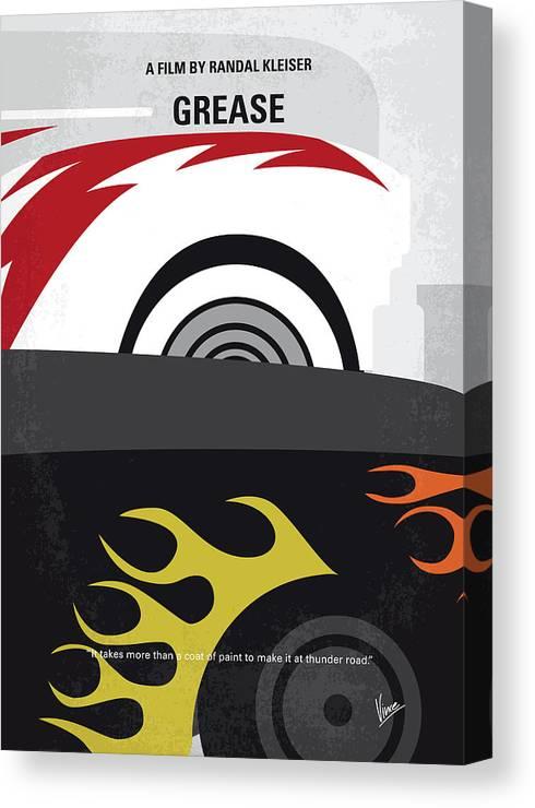 Grease Canvas Print featuring the digital art No674 My Grease Minimal Movie Poster by Chungkong Art