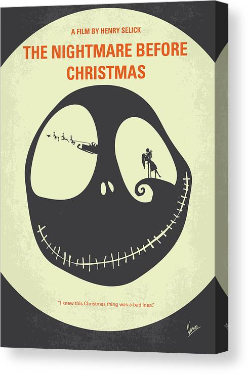The Canvas Print featuring the digital art No712 My The Nightmare Before Christmas Minimal Movie Poster by Chungkong Art